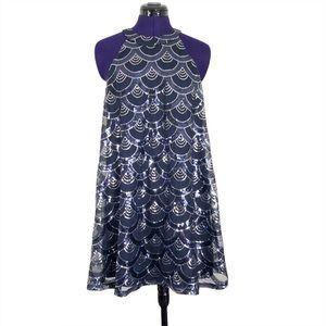 City Triangles Blue Silver Sequins Dress